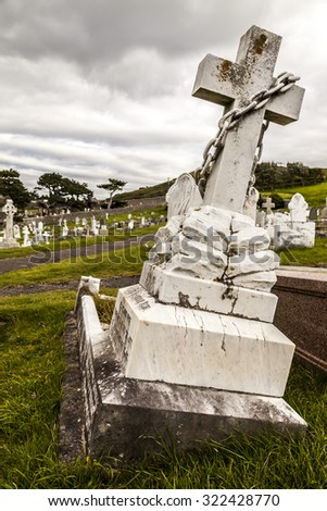 Graves at Great Orme cemetery. Llandudno North Wales Great Britain United Kingdom. - stock photo
