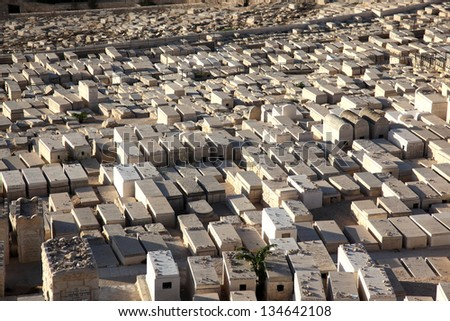 Graves on the Mount of Olives in Jerusalem, Israel - stock photo