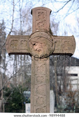 Gravestone cross - stock photo