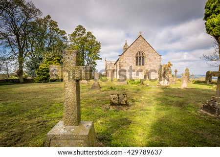 Gravestone Cross at Heavenfield / A delightful hilltop church in Northumberland believed to be the location where King Oswald raised a large wooden cross before the Battle of Heavenfield AD 635