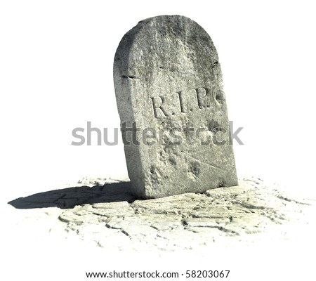 gravestone on the white background - stock photo