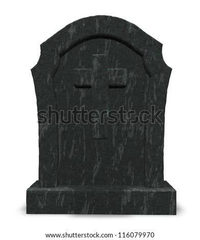 gravestone with cross symbol - 3d illustration - stock photo