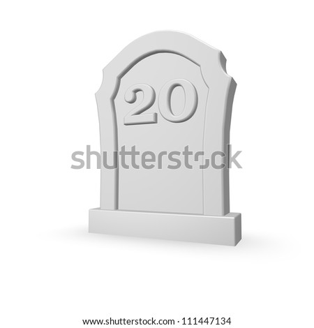 gravestone with number twenty on white background - 3d illustration