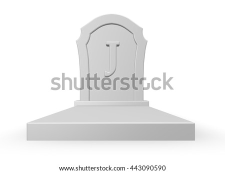 gravestone with uppercase letter j on white background - 3d rendering - stock photo