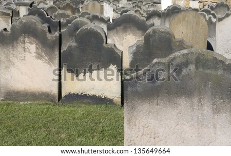Gravestones at St Mary's church, Whitby, England, setting for the early chapters of Dracula by Bram Stoker. - stock photo