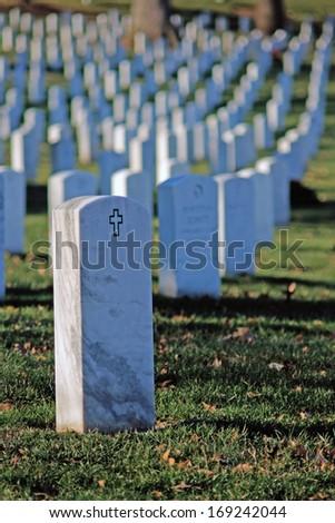 Gravestones in Arlington National Cemetery - stock photo