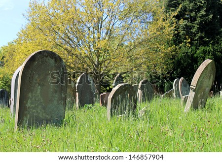 Gravestones in old cemetery