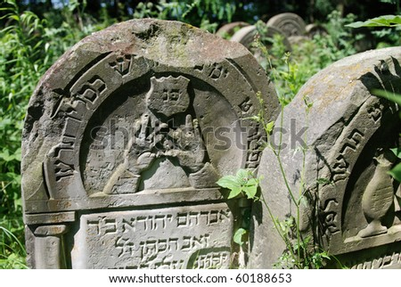 Gravestones in the old 400-year-old Jewish cemetery in Ozarow. Poland - stock photo