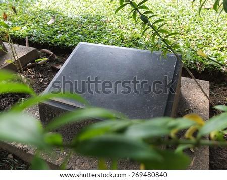 Gravestones in the War Cemetery - stock photo