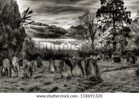 Graveyard sunset black and white