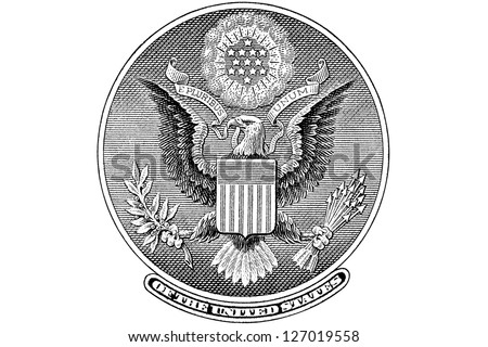 Gravure Great Seal from the back of a one dollar bill - stock photo