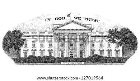 Gravure White house from the back of a twenty dollar bill - stock photo