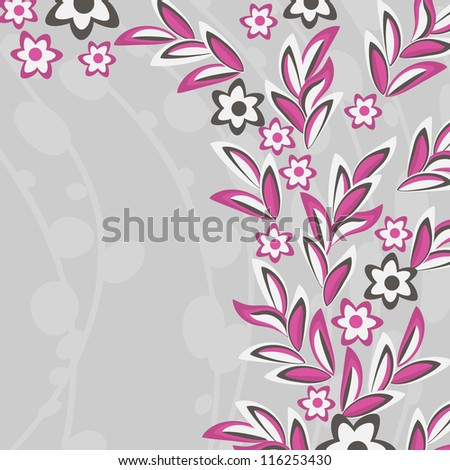Gray abstract background with pink flowers and leaves