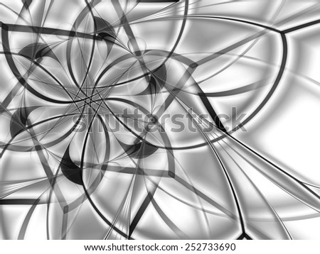 gray abstract fractal flower mandala background