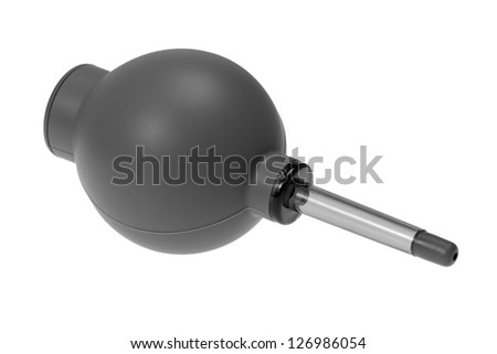 Gray air blower rubber pump  dust cleaner isolated on white background - stock photo