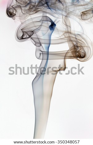gray and blue abstract pattern of incense smoke on white background
