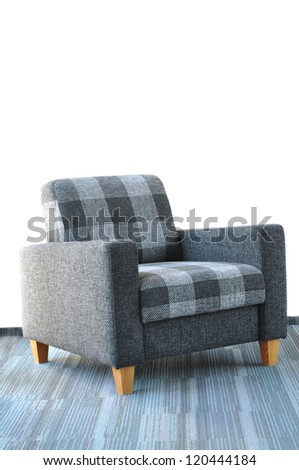 Gray and blue armchair, isolated on white - stock photo