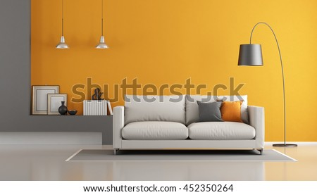 Gray and orange modern living room with sofa - 3d rendering - stock photo