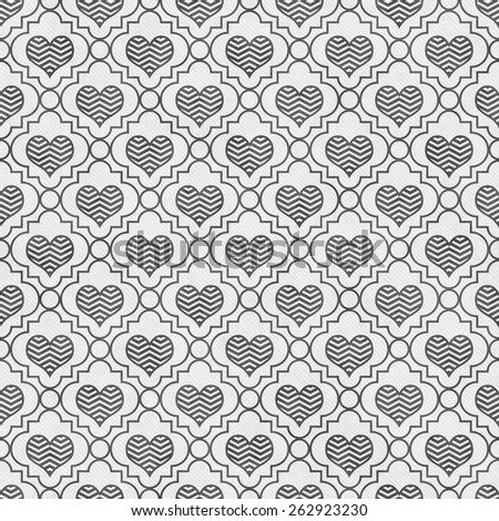 Gray and White Chevron Hearts Tile Pattern Repeat Background that is seamless and repeats - stock photo