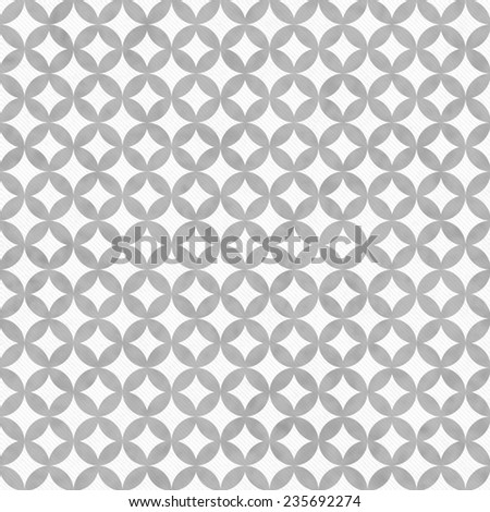 Gray and White Interconnected Circles Tiles Pattern Repeat Background that is seamless and repeats - stock photo
