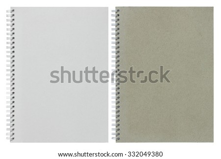 gray and white spiral notebook isolated on white - stock photo