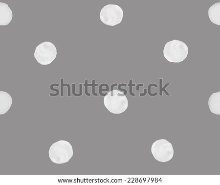 Gray and White Watercolor Polka Dot Pattern. Subtle Seamless Polka Dot Background Pattern - stock photo