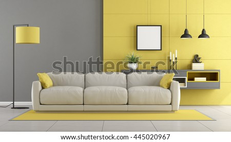 Gray and yellow modern lounge with sofa and sideboard on wall - 3d rendering