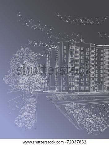 Gray architectural background with building and trees (see eps version in my portfolio) - stock photo
