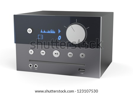 Gray audio cd player on white background