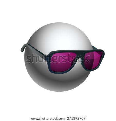 Gray ball wearing sunglasses isolated on white background