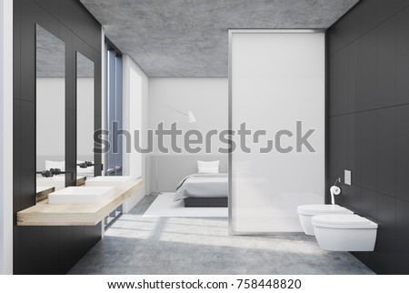 Gray bathroom interior with a concrete floor, a large window, a double sink and two toilets. A bedroom is seen in the background. 3d rendering mock up