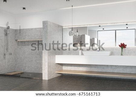 Gray bathroom interior with a concrete floor, a shower, a marble sink and an original lamp. Flowers in a vase. 3d rendering mock up