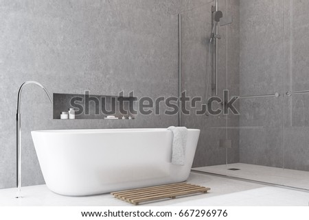 Gray Bathroom Interior With A White Floor, A Shower With Glass Doors, A  White