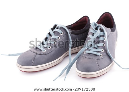 Gray boots isolated on white background.