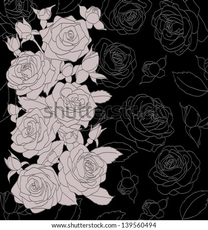 gray bouquet of roses on a black background. A COPY OF THE VECTOR FORMAT IN THE PROFILE OF THE ARTIST - stock photo
