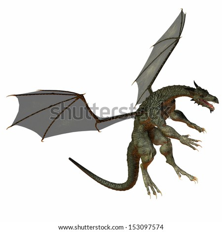 Gray Brown Dragon - A creature of myth and fantasy the dragon is a fierce flying monster with horns and large teeth. - stock photo