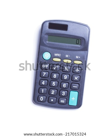 gray calculator on a white background - stock photo