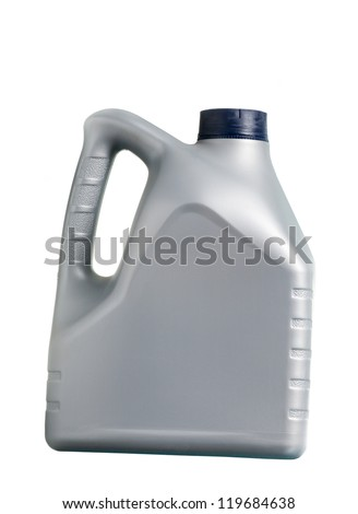 gray canister with machine oil on white background - stock photo