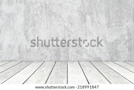 Gray cement wall and vintage wooden floor, perspective view.