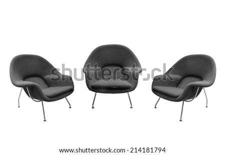 Gray chairs isolated with paths - stock photo