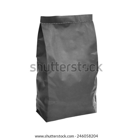 Gray charcoal paper bag isolated on white background - stock photo