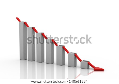 Gray chart with red arrow. Down. - stock photo