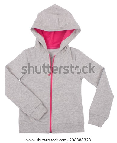 Gray child hoodie sweater. Isolated on a white background. - stock photo