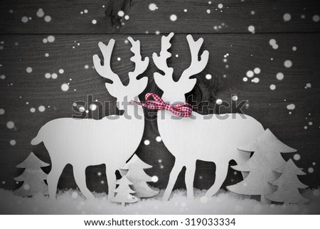 Gray Christmas Decoration, Reindeer Couple In Love On White Snow, Snowflakes. Red Ribbon, Christmas Tree.Rustic, Vintage Wooden Background. Christmas Card For Seasons Greetings. Black And White Image - stock photo