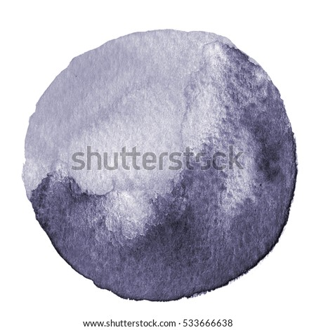 Gray circle painted watercolor on paper. Spot with paper texture. Hand drawn illustration isolated on white background. Watercolor background