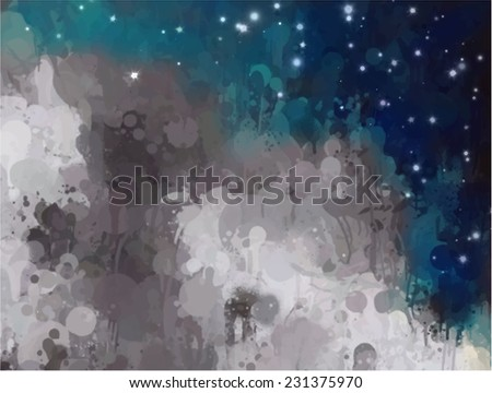 Gray clouds with stars. Abstract illustration. - stock photo