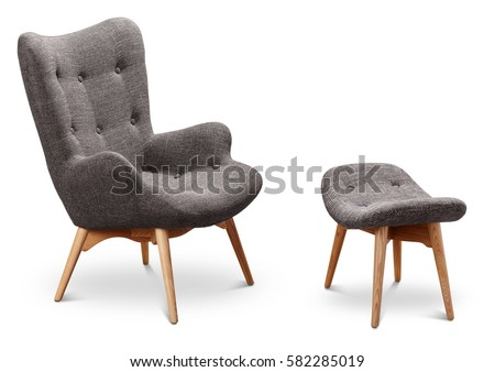Gray Color Armchair Small Chair Legs Stock Photo (Royalty ...