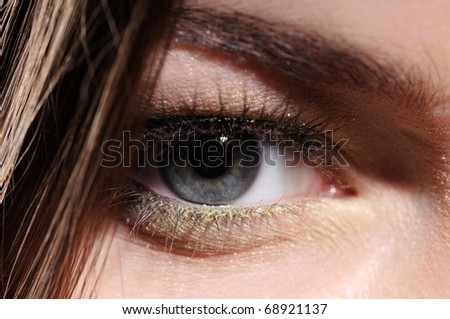 gray color eye women on the background of dark hair