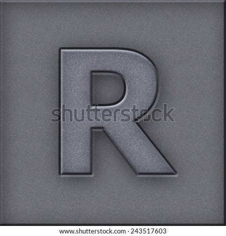Gray color font (alphabet letters or digits) made in modern style on grain film plastic for design work