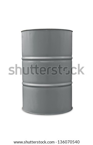 Gray color metal oil barrel, isolated on white background with clipping path